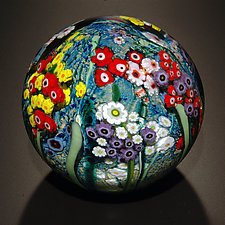 Landscape Series Gazing Ball with Poppies by Shawn Messenger (Art Glass Paperweight)