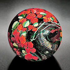 Red Roses Paperweight by Shawn Messenger (Art Glass Paperweight)