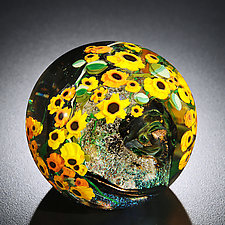 Sunflowers Paperweight by Shawn Messenger (Art Glass Paperweight)