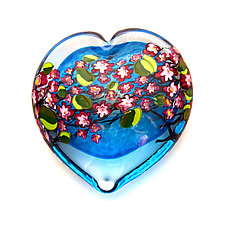 Cherry Blossom Heart on Aqua by Shawn Messenger (Art Glass Paperweight)