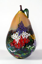 Landscape Series Yellow Pear by Shawn Messenger (Art Glass Sculpture)