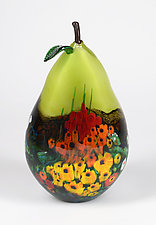 Landscape Series Green Pear by Shawn Messenger (Art Glass Sculpture)