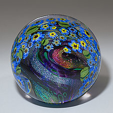 Forget-Me-Nots Paperweight by Shawn Messenger (Art Glass Paperweight)