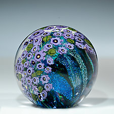 Violets Paperweight by Shawn Messenger (Art Glass Paperweight)