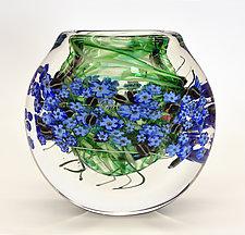 Forget-Me-Nots Cased Vase by Shawn Messenger (Art Glass Vase)