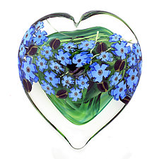 Forget-Me-Not Heart Paperweight by Shawn Messenger (Art Glass Paperweight)