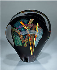Black Evolution Sculpture by Shawn Messenger (Art Glass Paperweight)