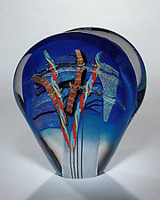 Blue Evolution Sculpture by Shawn Messenger (Art Glass Paperweight)