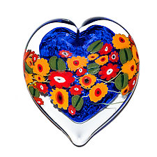 California Poppy on Blue Heart Paperweight by Shawn Messenger (Art Glass Paperweight)