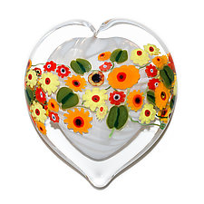 California Poppy on White Heart Paperweight by Shawn Messenger (Art Glass Paperweight)