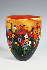 Garden Series Vase in Red and Yellow by Shawn Messenger (Art Glass Vase)