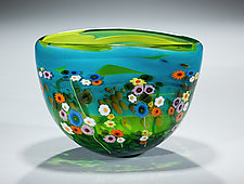 Garden Series Bowl in Turquoise and Lime by Shawn Messenger (Art Glass Bowl)