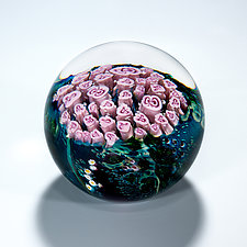Pink Roses Bouquet Paperweight by Shawn Messenger (Art Glass Paperweight)