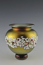 Gold Lustre Cherry Blossom Vase by Donald  Carlson (Art Glass Vase)
