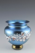 Blue Lustre Cherry Blossom Vase by Donald  Carlson (Art Glass Vase)