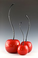 Red Cherries with Curved Stems by Donald  Carlson (Art Glass Sculpture)