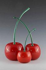 Green-Stemmed Cherries by Donald  Carlson (Art Glass Sculpture)