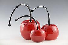 Bent Stem Cherries by Donald  Carlson (Art Glass Sculpture)