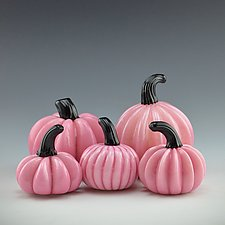 Five Pink Pumpkins by Donald  Carlson (Art Glass Sculpture)