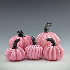 Five Pink Pumpkins by Donald  Carlson (Art Glass Sculpture)