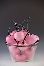 Life is Like a Bowl of Pink Cherries by Donald  Carlson (Art Glass Sculpture)