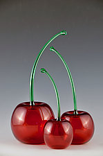 Transparent Green-Stemmed Cherries by Donald  Carlson (Art Glass Sculpture)