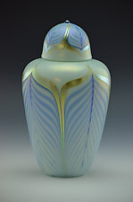 Private Collection White, Gold, and Blue Lidded Vase by Donald  Carlson (Art Glass Vase)