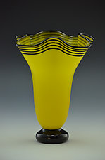 Yellow and Black Footed Trumpet Vase by Donald  Carlson (Art Glass Vase)