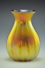 Small Gold Lustre Fluted Vase by Donald  Carlson (Art Glass Vase)