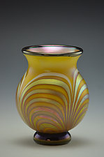 Yellow and Gold Lustre Footed Vase by Donald  Carlson (Art Glass Vase)