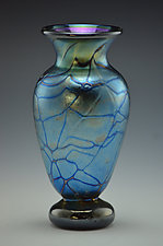 Blue Luster Black Footed Spider Web Vase by Donald  Carlson (Art Glass Vase)