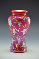 Private Collection Red and Gold Vase by Donald  Carlson (Art Glass Vase)