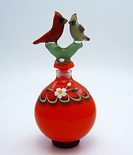 Cardinal Pair by Chris Pantos (Art Glass Perfume Bottle)