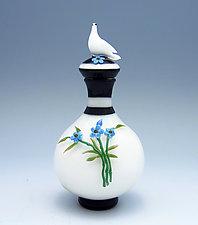 Forget-Me-Not Bottle with Dove by Chris Pantos (Art Glass Perfume Bottle)