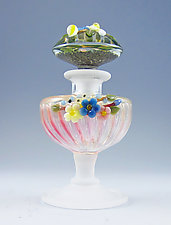 Urn Perfume with Flowers by Chris Pantos (Art Glass Perfume Bottle)