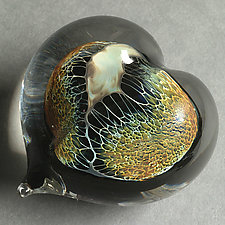 Amber Silver Veil Heart Paperweight by Robert Burch (Art Glass Paperweight)