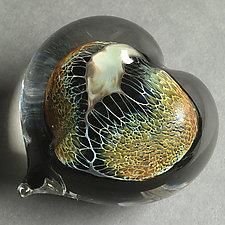 Amber Silver Veil Heart Paperweight by Robert Burch (Art Glass Paperweight)