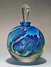Round Silver Veil Teal Perfume Bottle by Robert Burch (Art Glass Perfume Bottle)