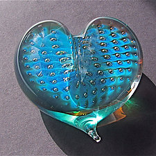Starry Night Heart Paperweight by Robert Burch (Art Glass Paperweight)