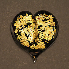 Gold Leaf Heart by Robert Burch (Art Glass Paperweight)