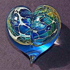 Turquoise Silver Veil Heart by Robert Burch (Art Glass Paperweight)