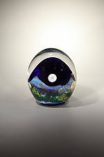 Mountainscape with Full Moon by Robert Burch (Art Glass Paperweight)