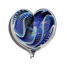 Midnight Pearl Heart by Robert Burch (Art Glass Paperweight)