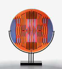 Orange Lavender Line Work Round by Lynn Latimer (Art Glass Sculpture)