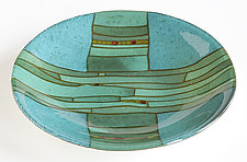 Turquoise Strata Bowl by Lynn Latimer (Art Glass Bowl)