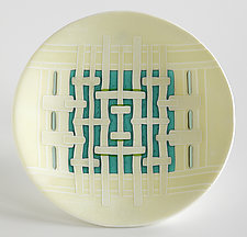 Ivory Aqua Woven Bowl by Lynn Latimer (Art Glass Bowl)