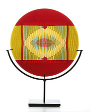 Carved Red Border Medallion by Lynn Latimer (Art Glass Sculpture)
