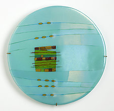 Aqua Window Round by Lynn Latimer (Art Glass Wall Sculpture)