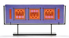 Orange Lavender 3 Square by Lynn Latimer (Art Glass Sculpture)