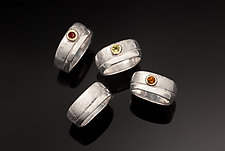 Double Scribble Rings by Chi Cheng Lee (Silver & Stone Ring)
